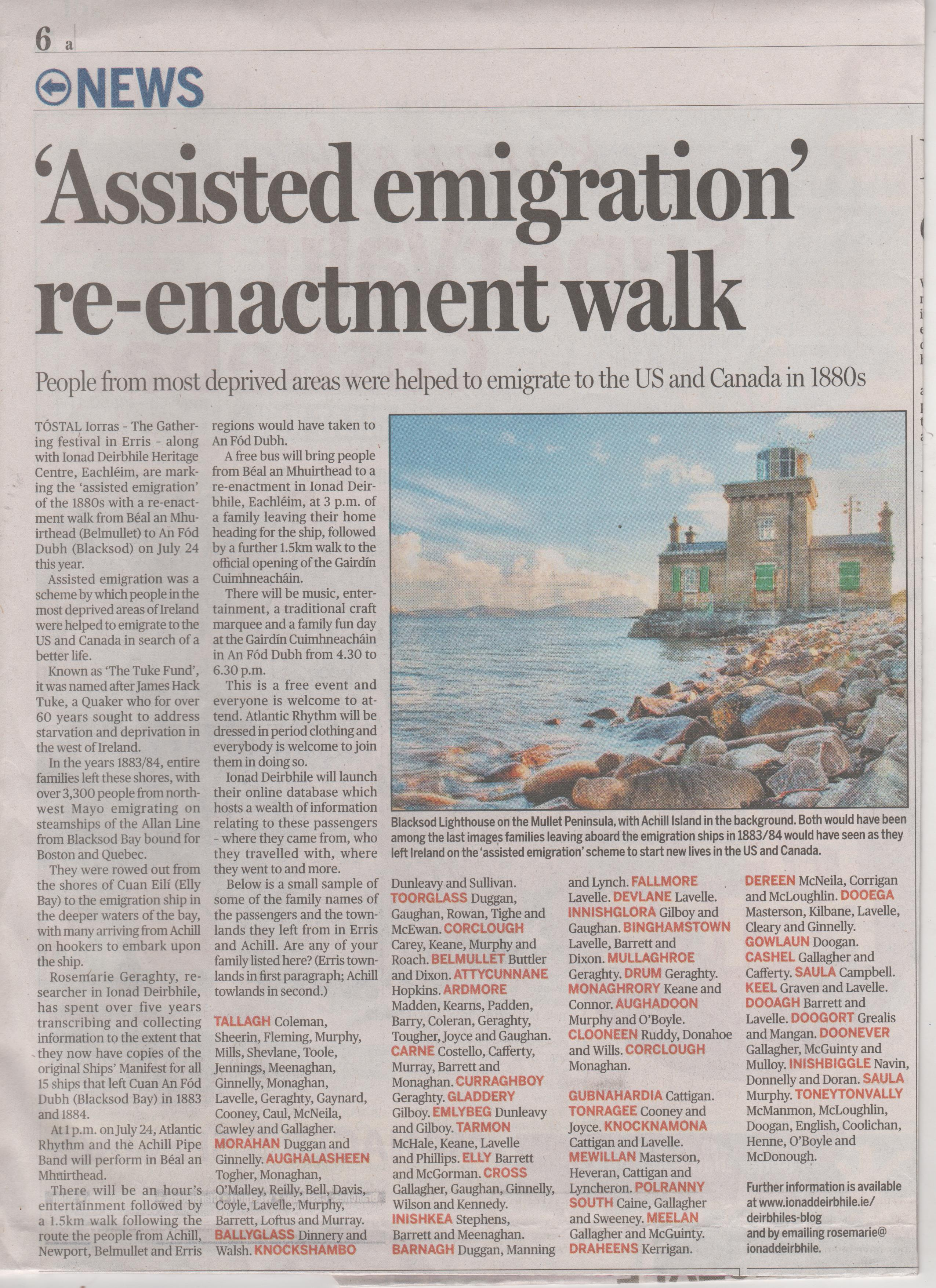 Article re Emigration from North West Mayo in 1883 - 1884